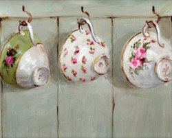 PRINT ON PAPER - Three Hanging Tea Cups - FREE  Shipping WORLD WIDE