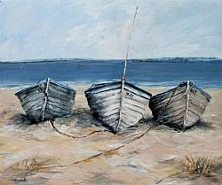 Original Painting on Panel - Three Boats - Postage included Australia wide