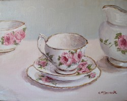 Original Painting on Canvas - American Beauty Tea Set - Postage is included in the price Australia Wide Only