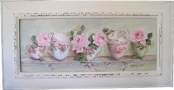 Original Painting - Larger size - Assorted Tea Cups on a Scrolly Shelf - Postage is included Australia wide