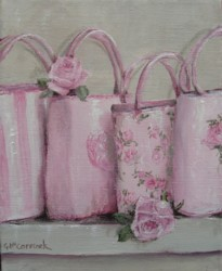 Original Whimsical Painting - Pink Bags - Postage is included Australia Wide