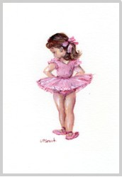 Original Painting on Paper - Young Ballerina - free postage WORLD WIDE