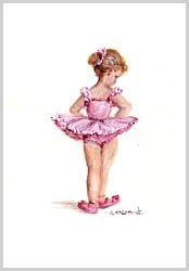 Original Painting on Paper - Sweet Little fair haired Ballerina - free postage WORLD WIDE