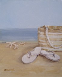 Original Beach Themed Painting - Beach Bag and Thongs - Free Postage Australia wide