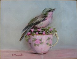 Ready to Hang Print - Bird in a Pink Tea Cup - POSTAGE is included in the price Australia wide
