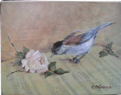 Ready to Frame Print - Bird on Music - Item special POSTAGE IS INCLUDED WORLD WIDE