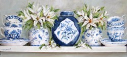 Ready to hang Print - Blue & White China with Lilies (41 x 18cm) FREE POSTAGE Australia wide