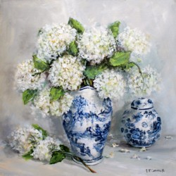 Ready to hang Print - Blue & White Collection with Hydrangeas (29 x 29cm) FREE POSTAGE Australia wide