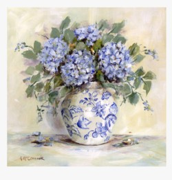 Fabric print - Blue Hydrangeas and China - Postage is included Australia Wide