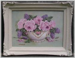 Original Painting - China Bowl of Roses and Lilacs - Postage is included Australia wide
