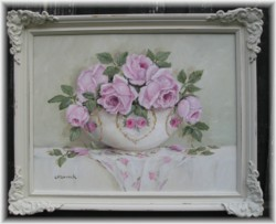 Original Painting - China Bowl of Roses - Postage is included Australia wide