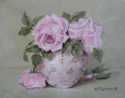 ORIGINAL PAINTING on Canvas - Chintz bowl of Pink Roses  - Postage is included Australia Wide