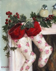 PRINT ON PAPER - Rosy Christmas Stockings - FREE  Shipping WORLD WIDE