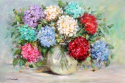 Ready to hang Print - Colourful Hydrangeas - FREE POSTAGE Australia wide