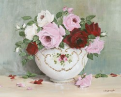 PRINT ON PAPER - Display of Assorted Roses - FREE  Shipping WORLD WIDE
