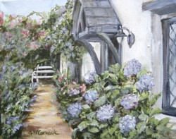 Original Painting on Canvas - Fig Tree Cottage Garden View - Postage is included in the price Australia Wide Only