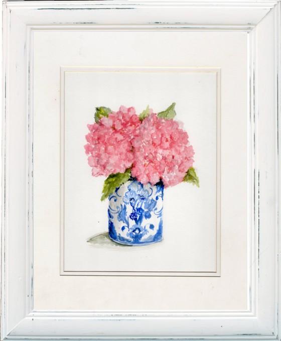 Two Pink Hydrangeas Original water colour