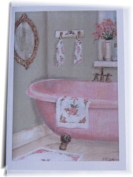 Gift Card-Single card - Pink Claw Footed Bath - Free Postage Australia wide only