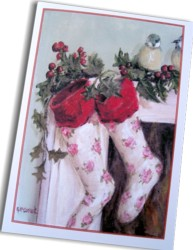 Gift Card-Single card - Rosy Christmas Stockings - Free Postage Australia wide only