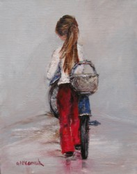 Original Whimsical Painting - Girl on a Bike - Postage is included Australia wide