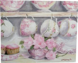 Original Whimsical Painting - Hanging Tea Cups - Postage is included Australia Wide