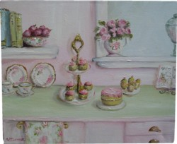 ORIGINAL Whimsical PAINTING - Afternoon Tea Preparations - Postage is included Australia wide