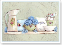 Gift Card-Single card - China & Hydrangeas on Ceiling Tin - Free Postage Australia wide only