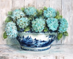 Hydrangeas in B & W Tureen - Postage is included Australia Wide