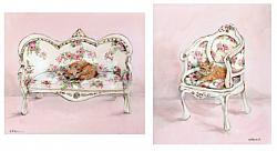 sold - Original Paintings on Panel - Cat on Chairs