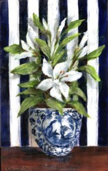 Original Painting on Panel - Lilies on Navy & White - Postage is included Australia Wide