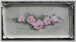 Original Painting - Larger size - Long framed Pink Roses - Postage is included Australia wide