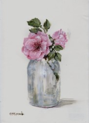 Original Painting on Paper - Roses in a Vintage Jar - free postage WORLD WIDE