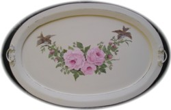 Original Painting - On an Oval Tray - Birds and Roses - Postage is included Australia Wide