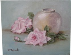 Original Painting on Canvas - Pottery Pot and Roses  - Postage is included Australia Wide