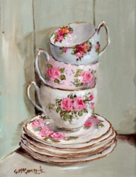 PRINT ON PAPER - Three Stacked Tea Cups in a Vintage Cupboard - FREE POSTAGE WORLD WIDE