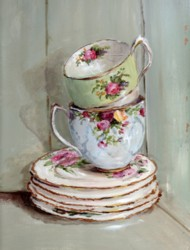 2 Stacked Tea Cups in a Vintage Cupboard - Available as prints and gift cards