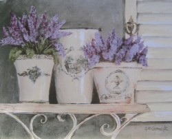 Ready to Frame Print  - Assorted Lavender on a Shelf - Postage is included Worldwide