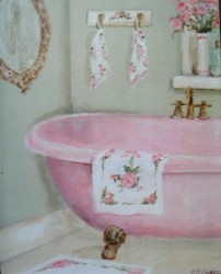 Ready to Frame Print  - The Pink Claw Footed Bath - Postage is included Worldwide