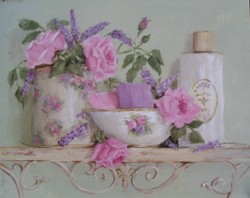 Rose and Lavender Bathroom - Available as prints and gift cards