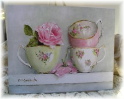 Ready to Frame Print - Stacked Tea Cups - Postage is included in the price Worldwide