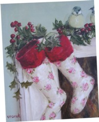 Ready to Frame Print - Rosy Christmas Stockings - Postage is included Australia Wide