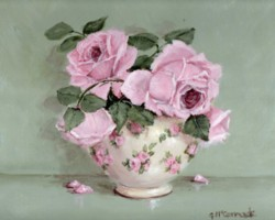 PRINT ON PAPER - Rose Blooms in a Chintz Bowl - Free Postage World Wide