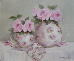 ORIGINAL PAINTING on canvas - Rosy Tea Time - Postage is included Australia wide