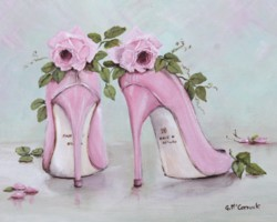 Ready to Frame Print  - Shoes & Roses - Postage is included Worldwide