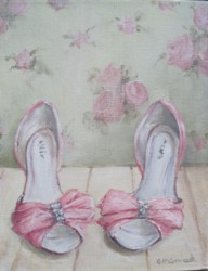 Original Whimsical Painting - Ellie's Shoes - Postage is included Australia Wide