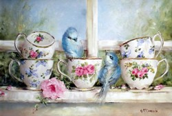 Tea Cups & Birds on the Window Sill - Free Postage Australia wide only