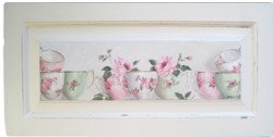 ORIGINAL PAINTING - Tea Cups and Roses on a cupboard door - Postage is included Australia wide