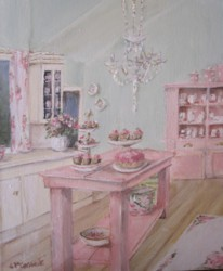 Original Whimsical Painting - The Pink Kitchen Bench - Postage is included Australia Wide