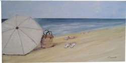 Original Painting  on Canvas - The Beach Umbrella - Postage is included Australia Wide