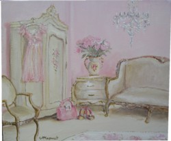 Original Whimsical Painting - The Pink Boudoir - Postage is included Australia Wide